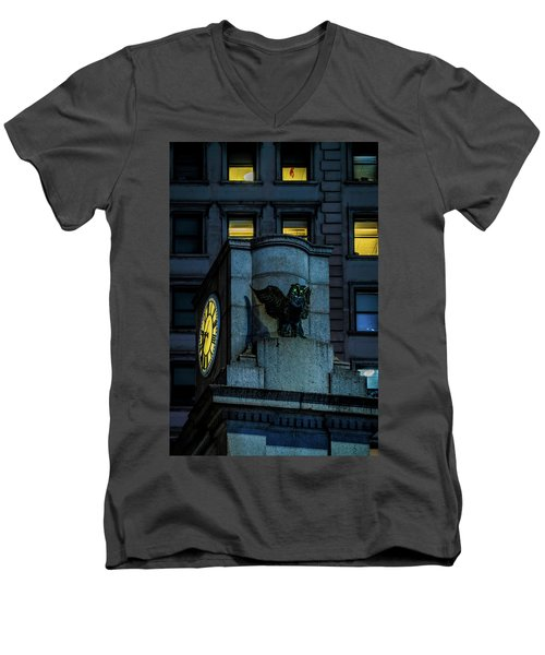 Men's V-Neck T-Shirt featuring the photograph The Herald Square Owl by Chris Lord