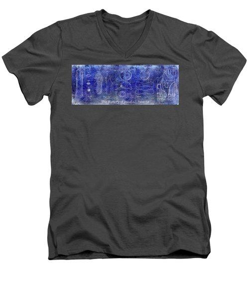 The History Of Baseball Patents Blue Men's V-Neck T-Shirt by Jon Neidert