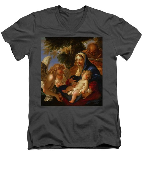 Men's V-Neck T-Shirt featuring the painting The Holy Family With Angels by Seastiano Ricci