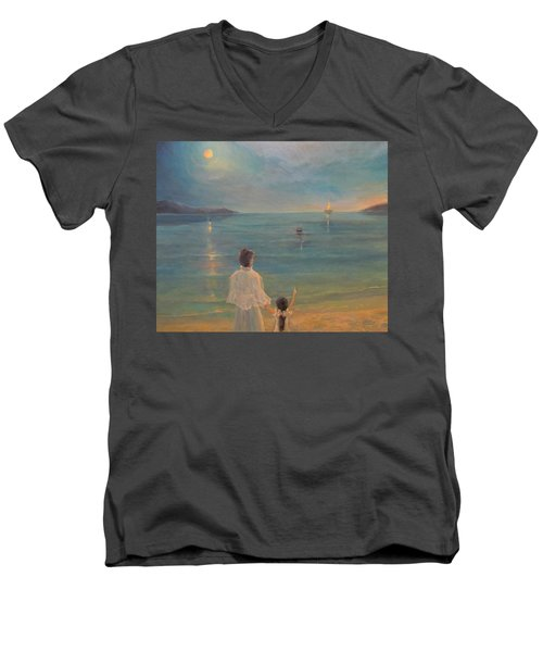Men's V-Neck T-Shirt featuring the painting The Homecoming by Donna Tucker
