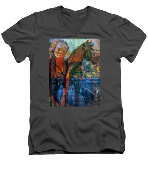 Men's V-Neck T-Shirt featuring the digital art The Horse And Me by Fania Simon