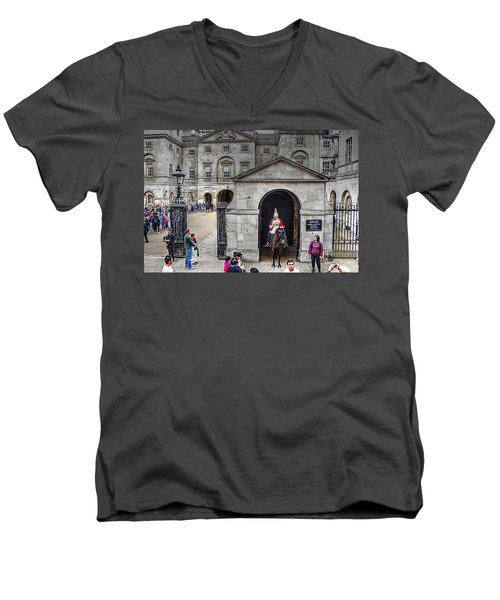 The Horse Guard At Whitehall Men's V-Neck T-Shirt by Karen McKenzie McAdoo