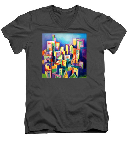 Men's V-Neck T-Shirt featuring the painting The Houses by Kim Gauge
