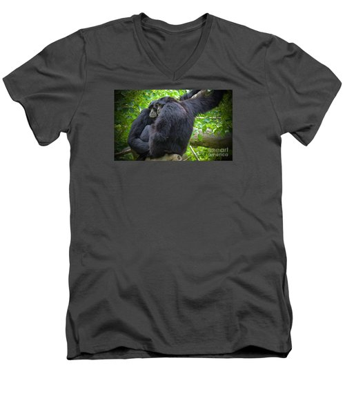 Men's V-Neck T-Shirt featuring the painting The Huddle by Judy Kay