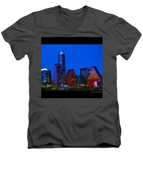 The #instaawesome #austin #skyline On A Men's V-Neck T-Shirt