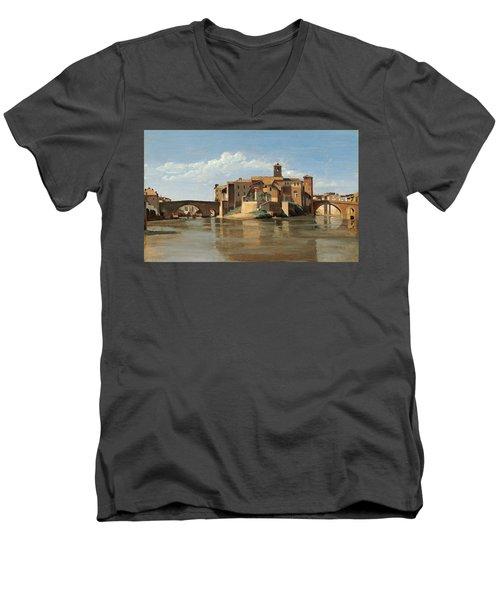 The Island And Bridge Of San Bartolomeo Men's V-Neck T-Shirt