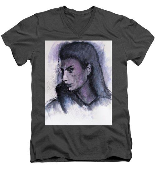 Men's V-Neck T-Shirt featuring the drawing The Islander by Jarko Aka Lui Grande