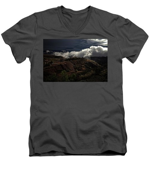 Men's V-Neck T-Shirt featuring the photograph The Jerome State Park With Low Lying Clouds After Storm by Ron Chilston