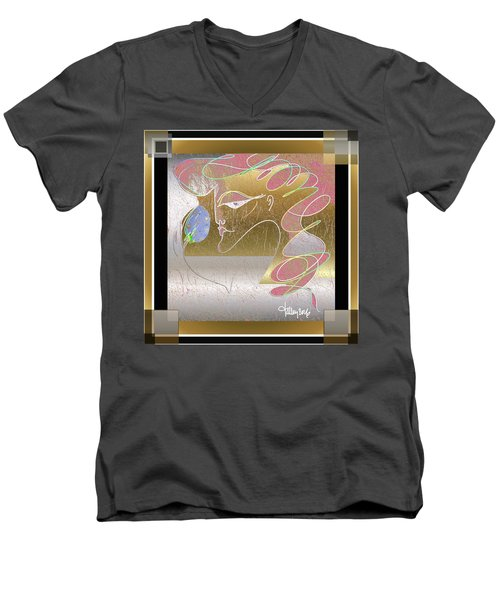 Men's V-Neck T-Shirt featuring the painting The Jeweled Egg by Larry Talley