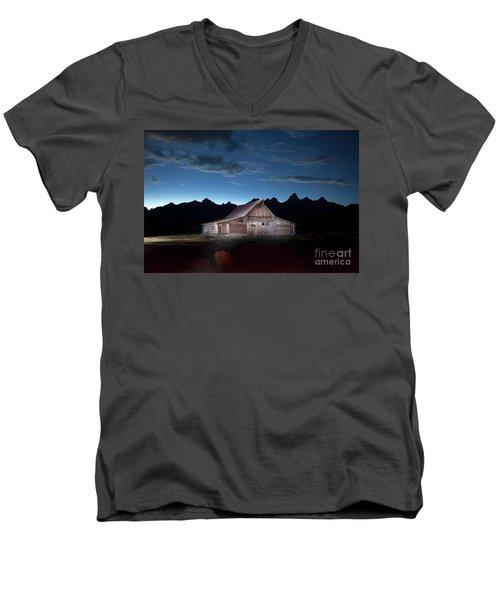 The John Moulton Barn On Mormon Row At The Base Of The Grand Tetons Wyoming Men's V-Neck T-Shirt