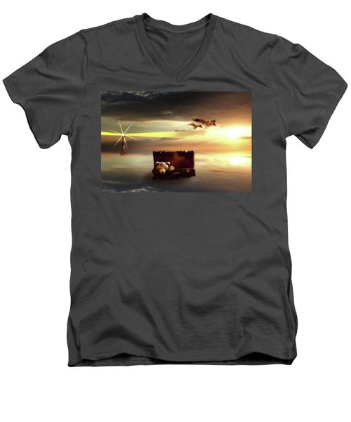 Men's V-Neck T-Shirt featuring the digital art The Journey Begins  by Nathan Wright