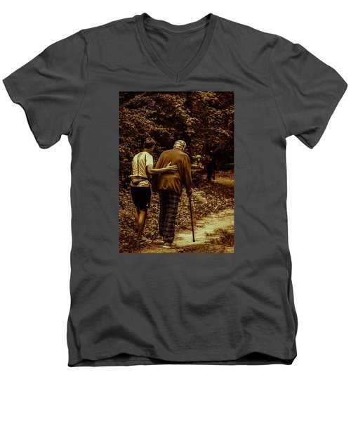 Men's V-Neck T-Shirt featuring the photograph The Journey by Michael Nowotny