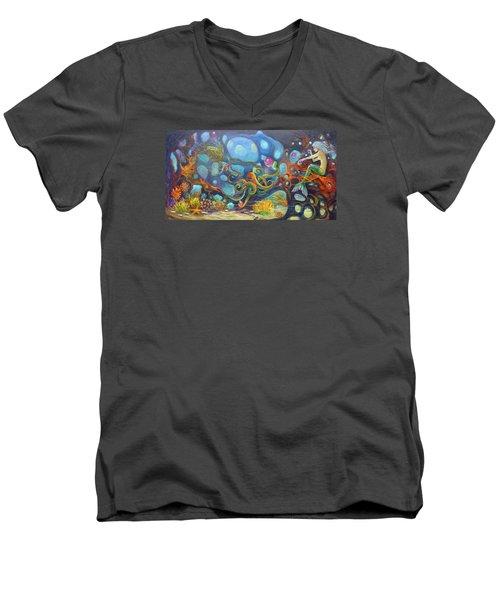 The Juggler Men's V-Neck T-Shirt by Claudia Goodell