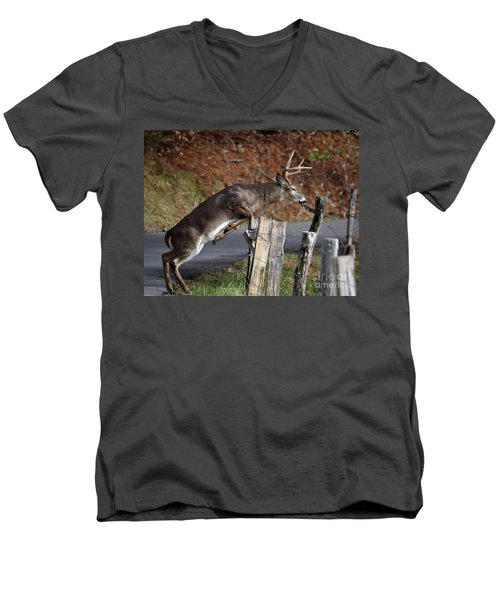 Men's V-Neck T-Shirt featuring the photograph The Jumper by Douglas Stucky