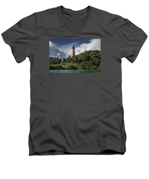 The Jupiter Inlet Lighthouse Men's V-Neck T-Shirt by Laura Fasulo