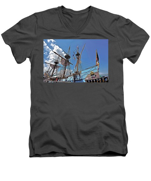 Men's V-Neck T-Shirt featuring the photograph The Kalmar Nyckel - Delaware by Brendan Reals