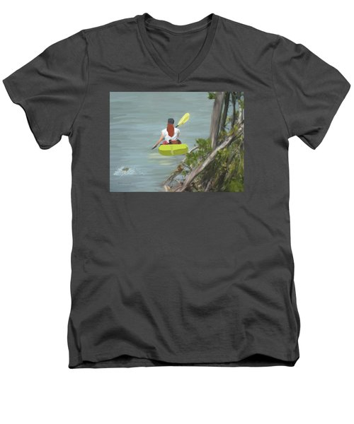 The Kayaker Men's V-Neck T-Shirt by Rosalie Scanlon