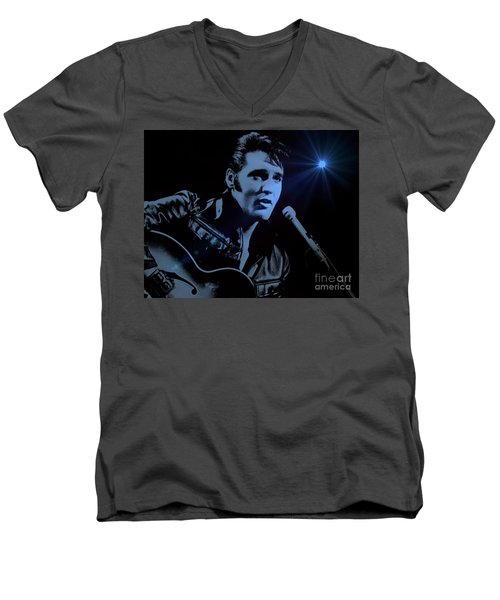 The King Rocks On Men's V-Neck T-Shirt