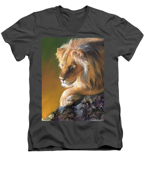 Men's V-Neck T-Shirt featuring the painting The King by Sherry Shipley