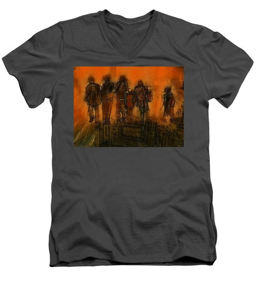 Men's V-Neck T-Shirt featuring the painting The Knowledge Seekers by Jim Vance