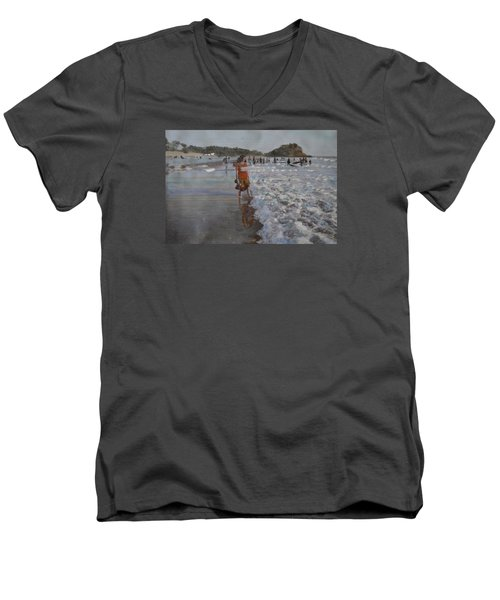 Men's V-Neck T-Shirt featuring the painting The Konkan Beach by Vikram Singh