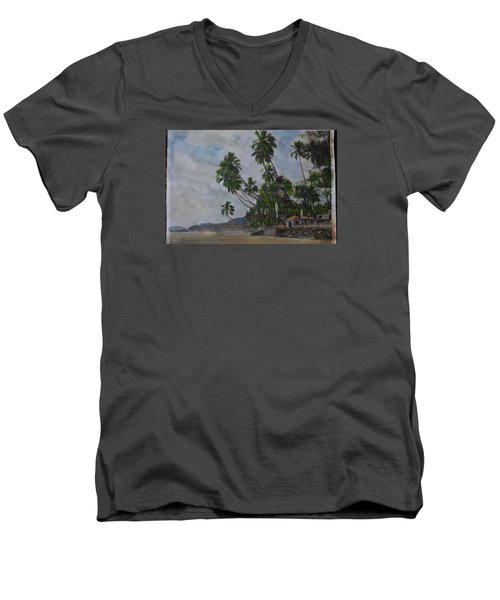 Men's V-Neck T-Shirt featuring the painting The Konkan Coastline by Vikram Singh