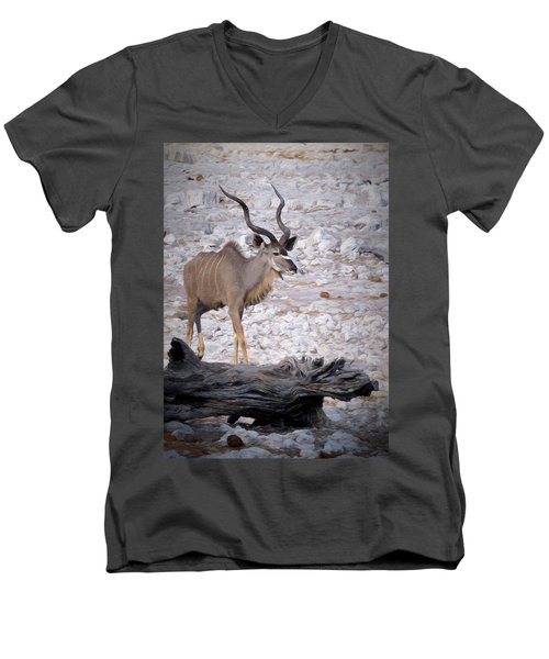 Men's V-Neck T-Shirt featuring the digital art The Kudu In Namibia by Ernie Echols
