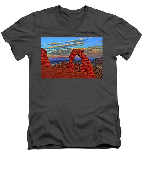 Men's V-Neck T-Shirt featuring the photograph The La Sal Mountains And Arch by Scott Mahon
