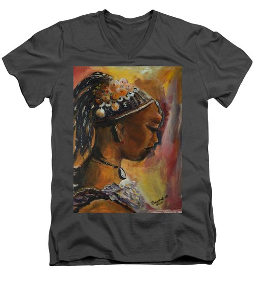The Lady Men's V-Neck T-Shirt by Bernadette Krupa