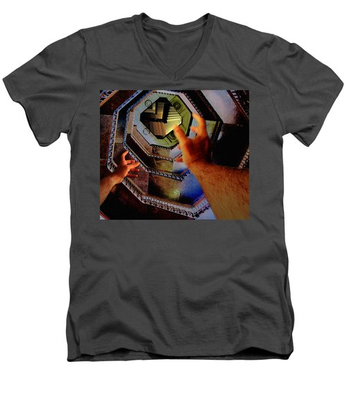 Men's V-Neck T-Shirt featuring the photograph The Landing by Christopher Woods
