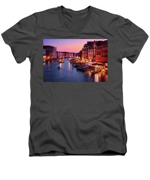 The Blue Hour From The Rialto Bridge In Venice, Italy Men's V-Neck T-Shirt