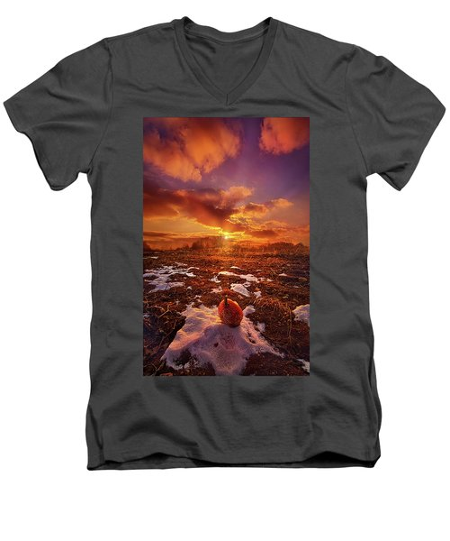 Men's V-Neck T-Shirt featuring the photograph The Last Pumpkin by Phil Koch