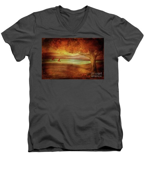 Men's V-Neck T-Shirt featuring the digital art The Last Sail Of The Season  by Lois Bryan