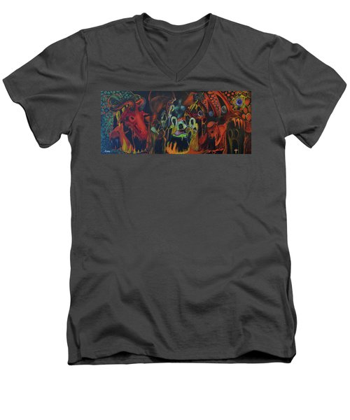 Men's V-Neck T-Shirt featuring the painting The Last Supper by Christophe Ennis