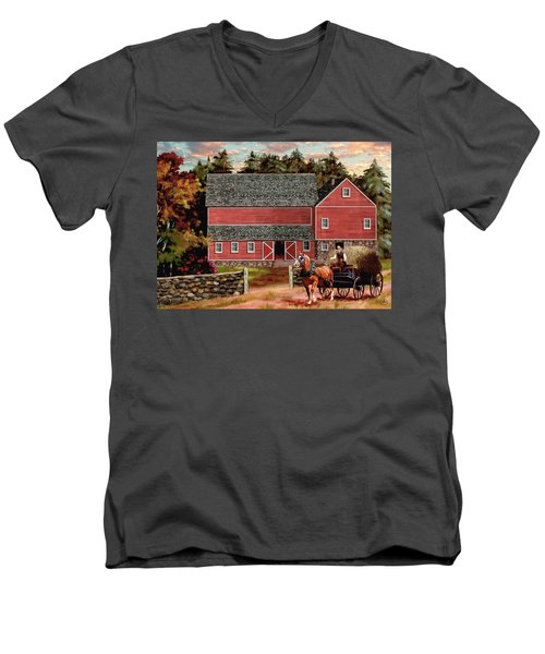 The Last Wagon Men's V-Neck T-Shirt by Ron Chambers