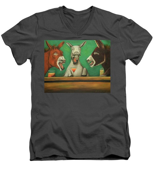 Men's V-Neck T-Shirt featuring the painting The Laughing Donkeys by Leah Saulnier The Painting Maniac