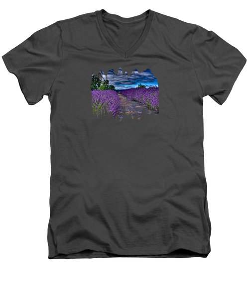 Men's V-Neck T-Shirt featuring the photograph The Lavender Field by Thom Zehrfeld