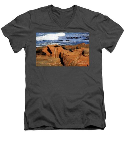 The Lazy Lounging Seals Men's V-Neck T-Shirt