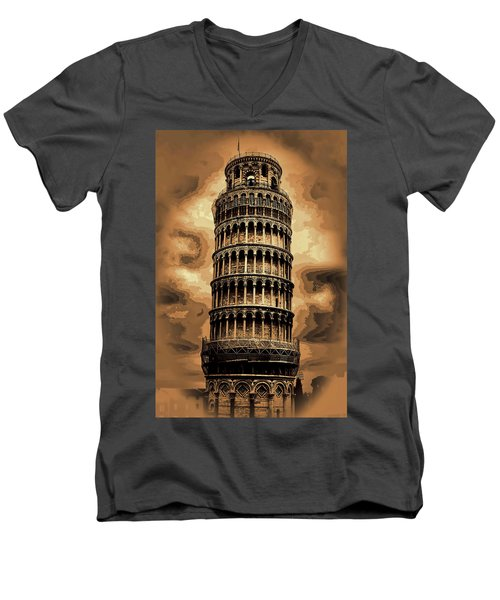 Men's V-Neck T-Shirt featuring the photograph The Leaning Tower Of Pisa by Tom Prendergast