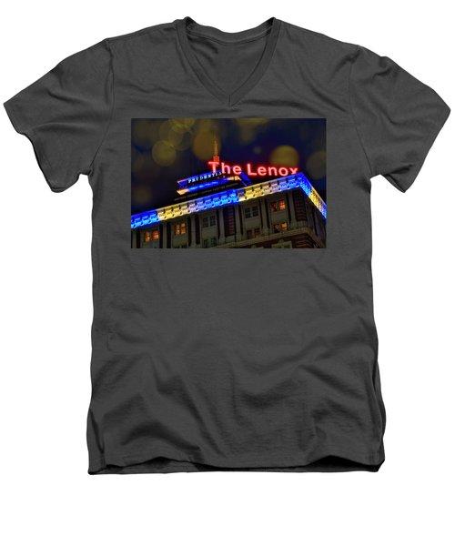 Men's V-Neck T-Shirt featuring the photograph The Lenox And The Pru - Boston Marathon Colors by Joann Vitali