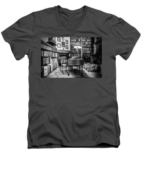 Men's V-Neck T-Shirt featuring the photograph The Library by Nick Bywater