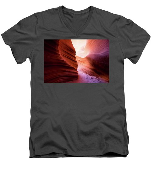 Men's V-Neck T-Shirt featuring the photograph The Light At The End by Stephen Holst