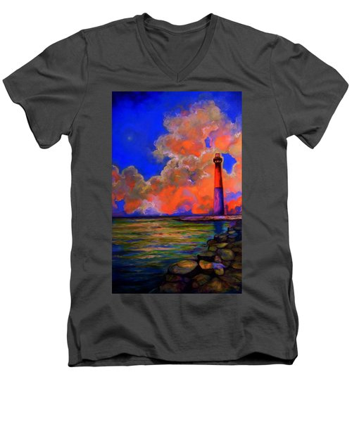 Men's V-Neck T-Shirt featuring the painting The Light by Emery Franklin