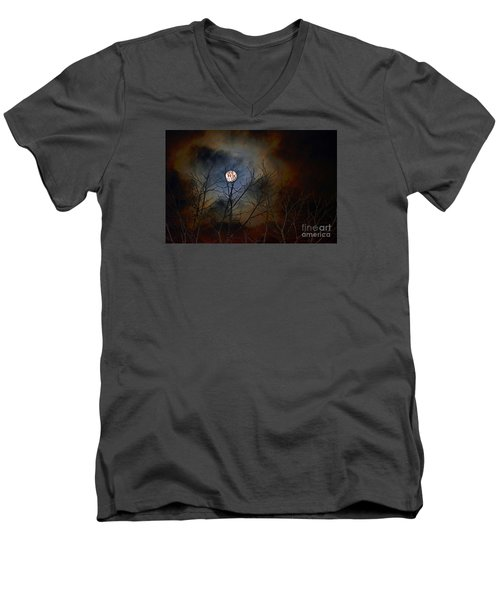 Men's V-Neck T-Shirt featuring the photograph The Light Of The Moon by Lila Fisher-Wenzel