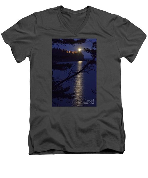 Men's V-Neck T-Shirt featuring the photograph The Light Shines Through by Larry Ricker
