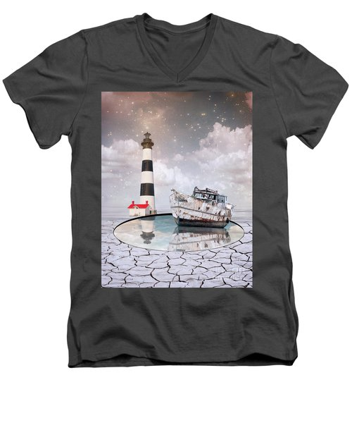 Men's V-Neck T-Shirt featuring the photograph The Lighthouse by Juli Scalzi