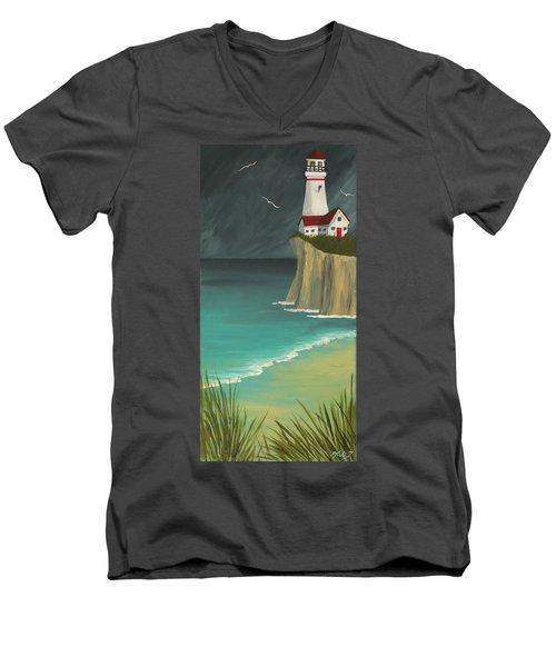 The Lighthouse On The Cliff Men's V-Neck T-Shirt