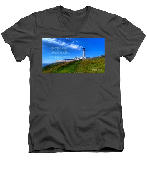 The Lighthouse On The Mull With Poem Men's V-Neck T-Shirt