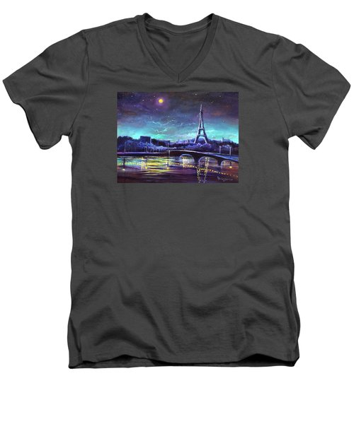 The Lights Of Paris Men's V-Neck T-Shirt by Randy Burns