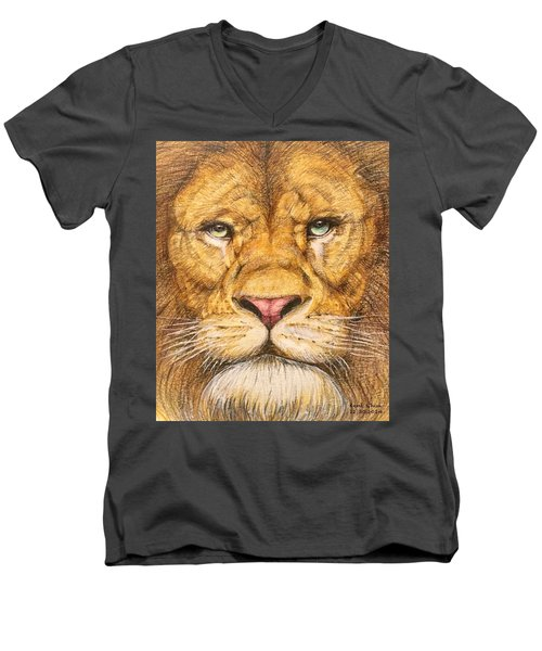 The Lion Roar Of Freedom Men's V-Neck T-Shirt by Kent Chua